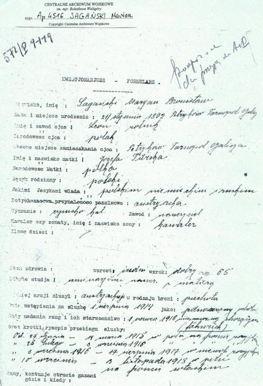 Zespół Szkół w Biesowicach Archiwym wojskowe mjr Marian Sagański