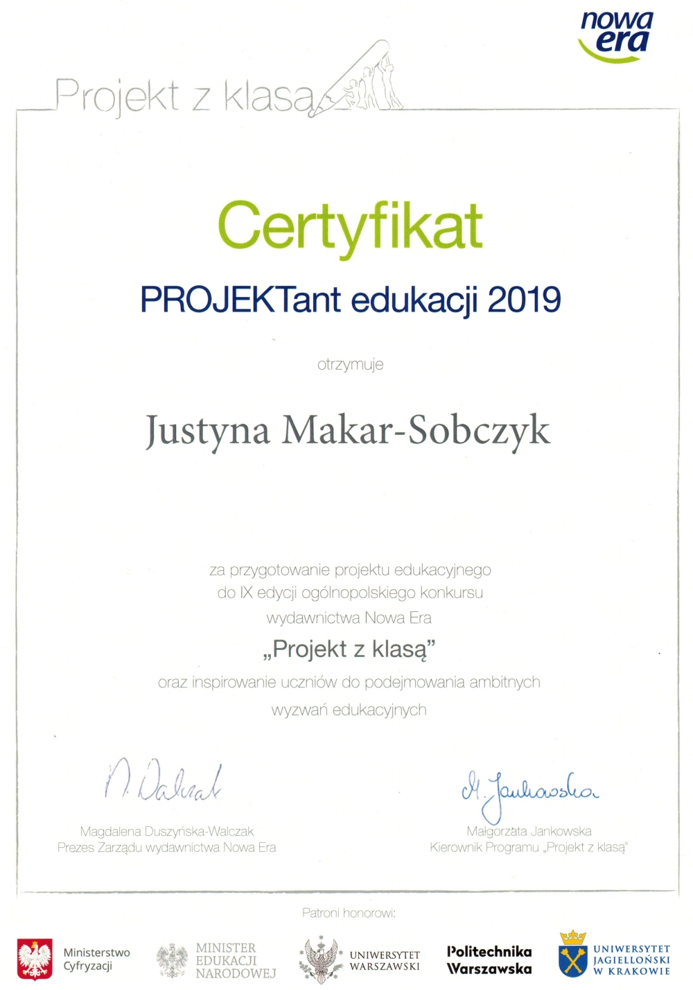 Zespół Szkół w Biesowicach Certyfikat